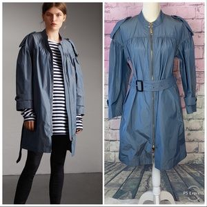 Burberry stone blue trench coat belted 6 ruched
